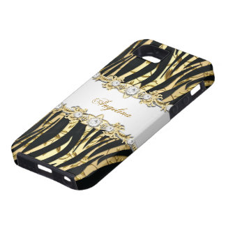 iPhone 5 Wild Zebra White Gold Diamond Jewel Image iPhone 5 Cases