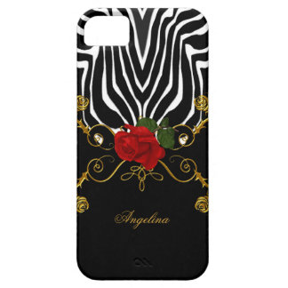 iPhone 5 Zebra Abstract Roses Red Black White Gold iPhone 5 Case