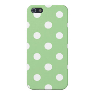 iPhone 5c Savvy Case: White on Green Polka Dots iPhone 5 Covers