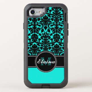 iPhone 6/6s | Monogrammed Teal, Black Damask OtterBox Defender iPhone 7 Case