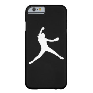 iPhone 6 case Fastpitch Silhouette White on Black Barely There iPhone 6 Case