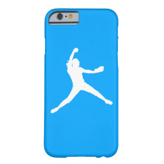 iPhone 6 case Fastpitch Silhouette White on Blue Barely There iPhone 6 Case