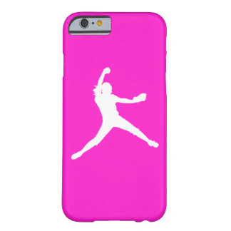 iPhone 6 case Fastpitch Silhouette White on Pink Barely There iPhone 6 Case