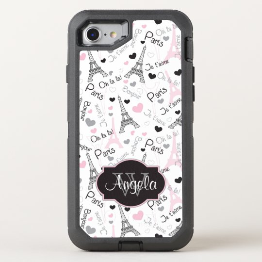 iPhone 6 | Paris | Eiffel Tower | Hearts OtterBox Defender iPhone 7 Case