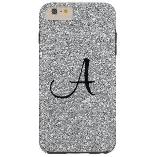 Iphone 6 Plus Silver Glitter Monogram Case
