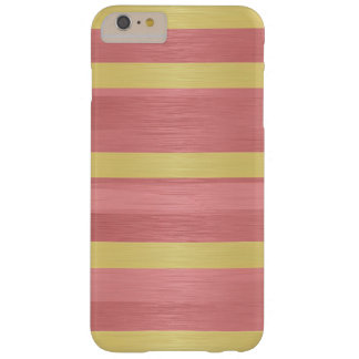 iPhone 6 Rose Pink and Gold Stripes Barely There iPhone 6 Plus Case