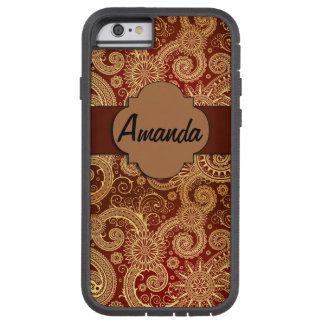 iPhone 6, Tough Xtreme Monogram Case Brown Swirls