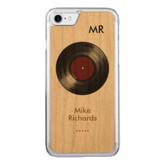 iPhone 6 with vinyl record on wood Carved iPhone 7 Case