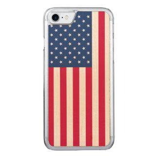 iPhone 7 American Flag Maple Wood Slim Case