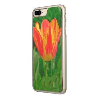 iPHONE 7 CARVED WOOD CASE /RED AND YELLOW TULIP