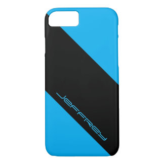 iPhone 7 Case, Cyan Blue & Black, One Stripe iPhone 7 Case