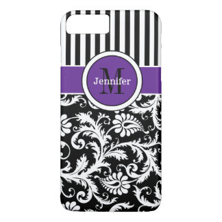 iPhone 7 Case | Damask | Stripes | Purple