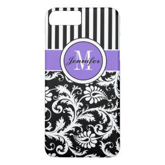 iPhone 7 Case | Damask | Stripes | Purple 2