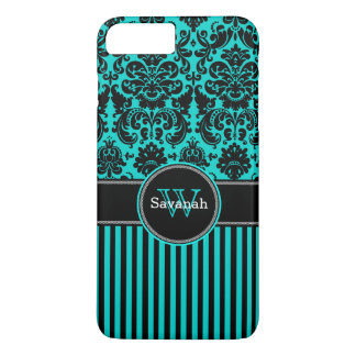 iPhone 7 Case | Damask | Stripes | Turquoise