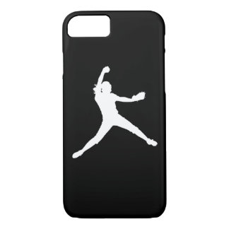 iPhone 7 case Fastpitch Silhouette White on Black