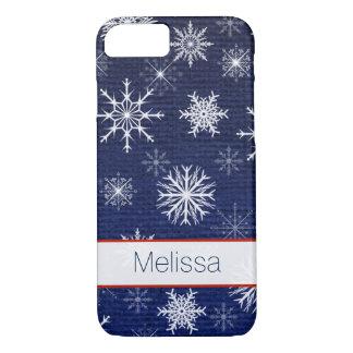iPhone 7 Case | Faux Burlap | Snowflakes - Navy