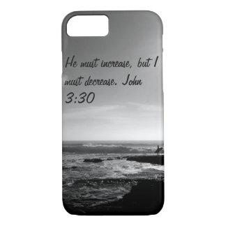 iPhone 7 case. John 3:30. Ocean. Black and white iPhone 7 Case