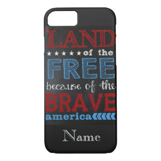 "iPhone 7 Case ""Land of the Free Chalkboard"""