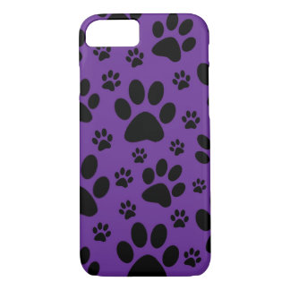 iPhone 7 case, Purple paw prints, pet, animal iPhone 8/7 Case