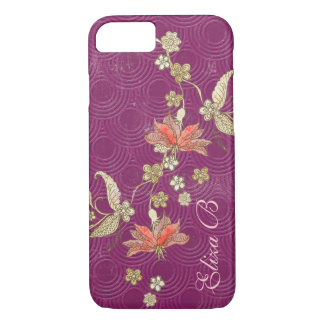 iPhone 7 Case Purple with Flowers
