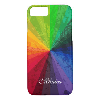 iPhone 7 Case   Rainbow Stripes   Personalized