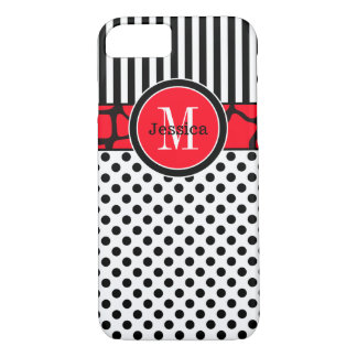 iPhone 7 Case | Stripes, Dots | Red