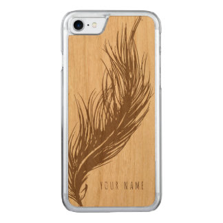 iPhone 7 case wood and feather