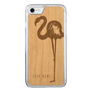 iPhone 7 case wood and flamingo