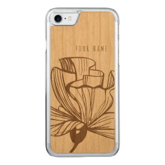 iPhone 7 case wood and flower