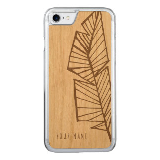 iPhone 7 case wood and geo feather