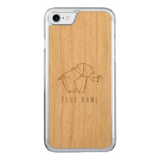 iPhone 7 case wood and origami elephant