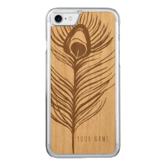 iPhone 7 case wood and peacock
