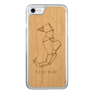 iPhone 7 case wood and seahorse