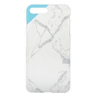 iPhone 7 clear case with marble lo and teal corner
