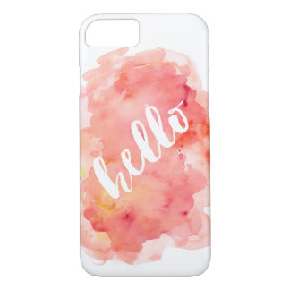 """iPhone 7 Cover - Pink Watercolor """"hello"""""""