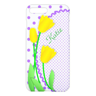 iPhone 7 Plus Matte Case  Yellow Tulips with Laven