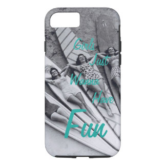 iPhone 7, Vintage Girls Just Wanna Have Fun iPhone 7 Case