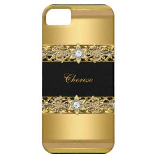 iPhone Black Floral Faux Gold iPhone 5 Cover