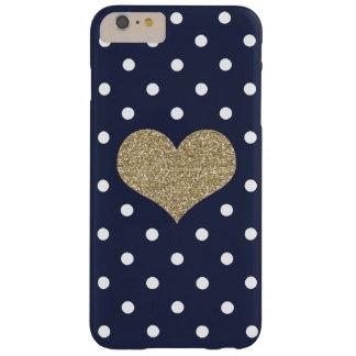 iPhone bleu 6/6s de coeur et de à petits pois d'or Coque iPhone 6 Plus Barely There