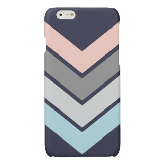 iPhone Case in Navy and Pastel Chevron Design