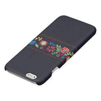 Iphone case - Neon flower pattern on black