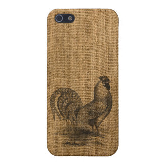 iPhone Case Rustic Burlap Rooster iPhone 5/5S Covers