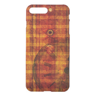 iPhone Case Steampunk Orange Plaid Pocket Watch