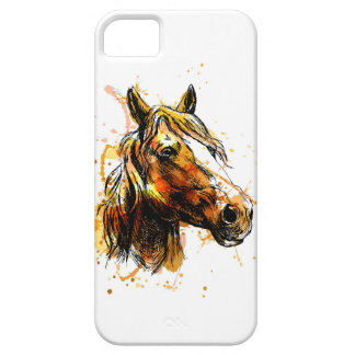 Iphone case with hand illustration of horse head.