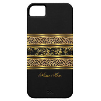 iPhone Elegant Classy Gold Black Leopard Floral Case For The iPhone 5
