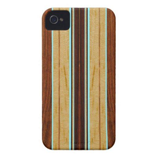 iPhone en bois de planche de surf de Koa de Faux d Coques iPhone 4 Case-Mate