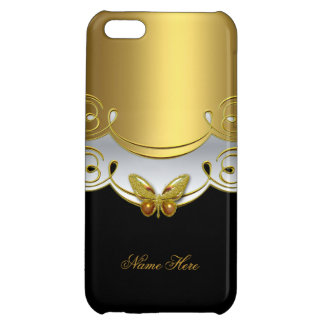 iPhone Gold Black White Butterfly 2 Case For iPhone 5C