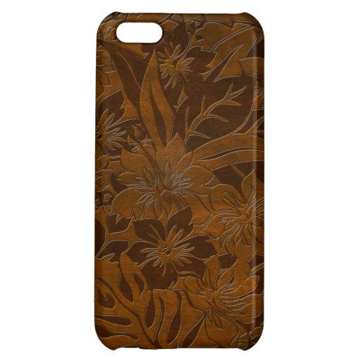 iPhone hawaïen en bois de Faux de plage d'Anini 5  Coques Pour iPhone 5C