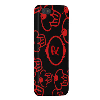 iPhone SE, 5 Case, Red Cupcakes on Black, Monogram Cover For iPhone 5/5S