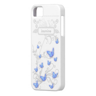 iPhone SE + iPhone 5/5S Case Cyan Butterflies